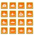 submarine icons set orange square vector image vector image