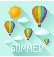 Summer background with hot air balloons Image for vector image