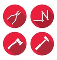 Tool icons set Axe hammer zigzag folding rule vector image vector image