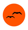 two black bats on an orange circle round vector image