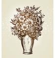 Vintage vase with flowers Sketch vector image