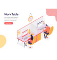 work table concept isometric design concept of vector image vector image