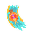 young woman riding down a water slide in a water vector image vector image