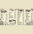 restaurant or cafe menu coffee drinck with price vector image