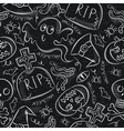 Seamless Pattern with Halloween objects on blackbo vector image