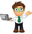 Business Man Unsure With Laptop vector image