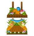 Wooden stage with flower decoration outdoor vector image