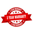 3 year warranty ribbon 3 year warranty round red vector image vector image