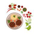 appetizing steak on plate vector image vector image