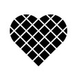 black checkered heart square grid in diagonal vector image