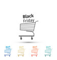 black friday sale shopping cart icon isolated vector image vector image