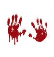 bloody hand print set isolated white background vector image vector image