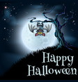 blue halloween moon bat background vector image
