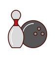 bowling pin and ball cartoon vector image vector image