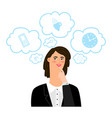 businesswoman thinks about different business vector image vector image