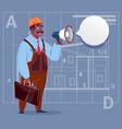 cartoon african american builder holding megaphone vector image vector image