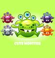cartoon cute three-eyed monster vector image