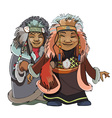 cartoon man with a woman of the Far North vector image