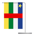 central african republic flag on pole icon vector image vector image