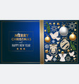 christmas banner or postcard with balls pine vector image vector image