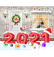 christmas facade decoration vector image vector image