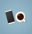 Coffee break with phone vector image