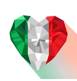 Crystal gem jewelry Italian heart with the flag of vector image