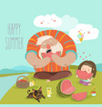 dad and his daughter eating watermelon on picnic vector image vector image