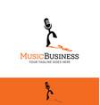 dancing microphone logo vector image vector image