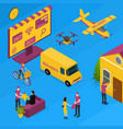 delivery logistic service concept 3d isometric vector image vector image