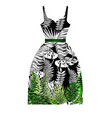 design dress with tropical leaves vector image