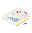 diagram paper icon isometric style vector image
