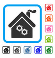 factory building framed icon vector image