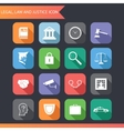 Flat Law Legal Justice Icons and Symbols vector image
