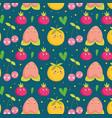 food pattern funny happy cartoon cute fruits vector image vector image
