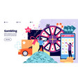 gambling landing page happy people playing vector image vector image