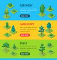 green trees park banner horizontal set 3d vector image vector image