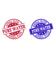 grunge scratched mineral water pure water seal vector image vector image