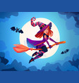 halloween witch on broomstick with bats and moon vector image