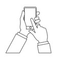 hand finger touch display smartphone outline vector image