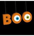Hanging 3D word BOO text with eyeballs Dash line vector image vector image