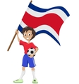 Happy soccer fan holds Costa Rica flag vector image vector image