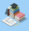 isometric stacks books and diploma on white vector image