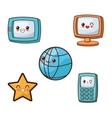 Kawaii cartoon icon set Technology and Social vector image vector image