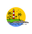 kerala light house and sea view color sketch vector image vector image