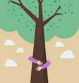 kid hands hug tree vector image vector image