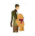 man holding teddy bear vector image vector image