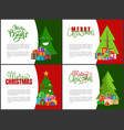 merry christmas postcards with green xmas trees vector image
