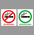 no smoking and smoking area sign vector image vector image