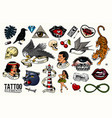 old school tattoo set tiger and lips eagle and vector image